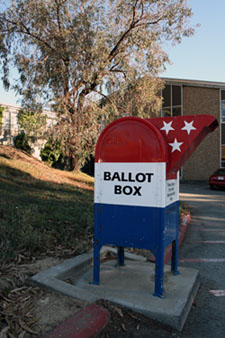 Ballot drop-off box outside the Elections Office