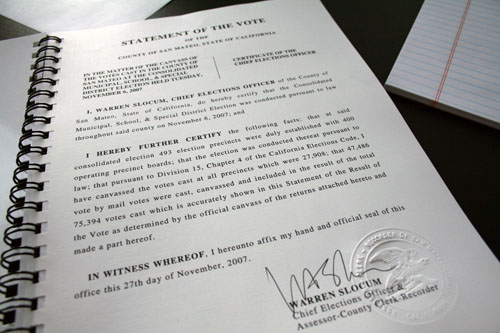 The Statement of the Vote signed by Chief Elections Office WarrenSlocum