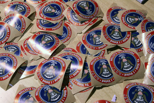 """I Voted"" stickers piled up at the polls during the Feb. 5 Presidential Primary Election"
