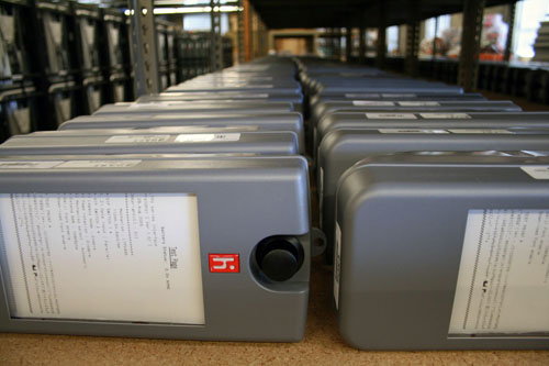 Hundreds of eSlate printers lined up on the shelf