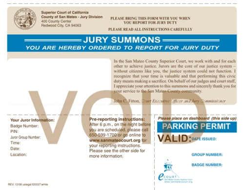 Jury Duty pool comes from DMV and Voter Registration
